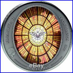 2016 Cook Islands 10 oz St. Peters Basilica ALABASTER WINDOW Silver Coin + Gift