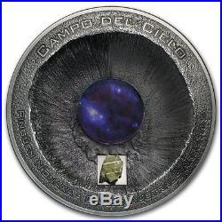 2016 Cook Islands Silver $20 Campo Del Cielo Meteorite PF70 ANTIQUED NGC Coin