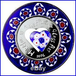 2016 Cook Islands Silver $5 Murrine Millefiori Glass Art PF67 UC NGC Coin