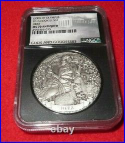 2016 NGC MS 70 COOK ISLAND 2oz Silver $2 GODS OF OLYMPUS HERA Antiqued