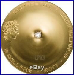 2017 1/2 Oz Silver $2 CHERGACH METEORITE Coin WITH 24K Gold Gilded, COOK ISLANDS