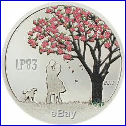 2017 $1 CHERRY BLOSSOM Snow Globes Silver Coin, Cook Islands