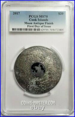 2017 3 Oz Silver $20 MOON EARTH SATELLITE PCGS MS70 FDOI Coin