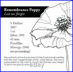 2017 $5 Cook Islands Remembrance Poppy. 999 Silver Coin