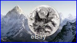2017 5 Oz HIGH RELIEF Silver MT. EVEREST The Seven Summits Coin, COOK ISLANDS