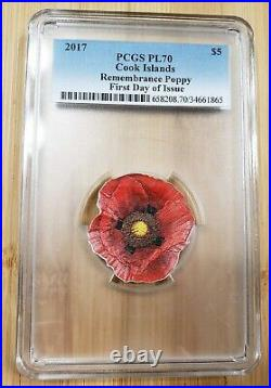 2017 Cook Is. Remembrance Poppy Shaped 1 oz Silver $5 PCGS PL70 First Day Issue