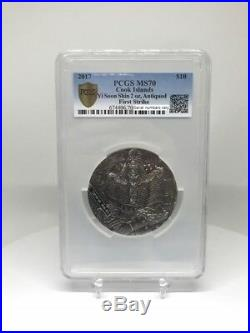 2017 Cook Is Yi Soon Shin 2 oz Silver Antiqued $10 Coin FIRSTSTRIKE PCGS MS70