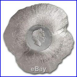 2017 Cook Island- Remembrance Poppy-Colored Silver Coin-Shaped like Poppy Flower