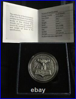 2017 Cook Islands $10 Thors Hammer Mjolnir 2 Oz 999 Silver Coin