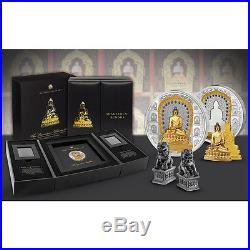 2017 Cook Islands 3 Ounce Silver 1/4 Gold Shakyamuni Buddha Coin Set + Gift