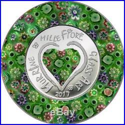 2017 Cook Islands $5 MURRINE MILLEFIORI GLASS ART Silver Proof Coin