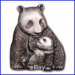 2017 Cook Islands 88 gram Silver Antique Finish Lucky Panda SKU #114944