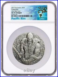 2017 Cook Islands Silver $10 Yi Soon Shin MS70 ANTIQUED NGC Coin RARE