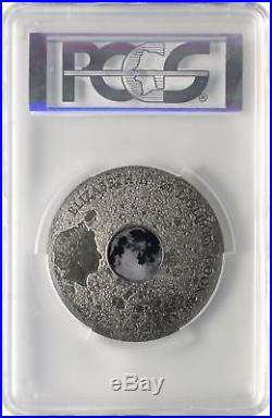 2017 Cook Islands Silver $20 Moon Meteorite MS70 ANTIQUED FDOI PCGS Coin