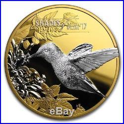 2017 Cook Islands Silver $5 Hummingbird Gilt PF70 UC ER NGC Coin #001 RARE