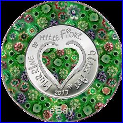 2017 Cook Islands Silver $5 Murrine Millefiori Glass Art PF70 UC ER NGC Coin