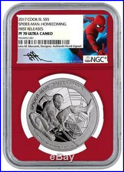 2017 Cook Islands Silver $5 Spider-Man Homecoming PF70 UC FR NGC Coin
