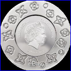 2017 MURRINE MILLEFIORI Glass Art Venetian Murano Silver Coin Cook Islands $5
