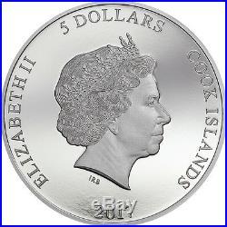 2017 PREDATOR PREY. 999 Silver Coin with Rhodium $5 CROCODILE vs JAGUAR COA CIT
