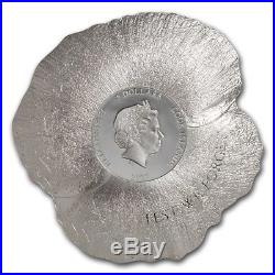 2017 Remembrance POPPY Shape 1 oz Silver Coin Cook Islands $5