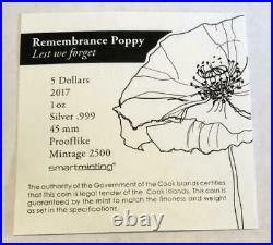 2017 Remembrance Poppy 1 oz Silver $5 PCGS PL 70 Box & COA