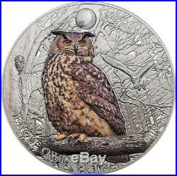 2018 1 Oz Silver Cook Island $5 EAGLE OWL Night Animals Coin