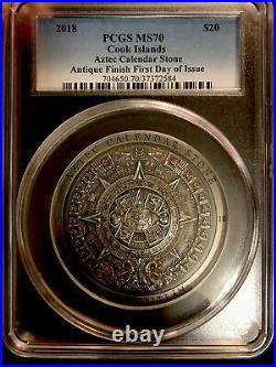 2018 $20 COOK ISLANDS AZTEC CALENDAR STONE SILVER 3oz ANTIQUED COIN PCGS MS70 FD