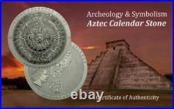 2018 $20 Cook Islands Aztec Calendar Stone 3oz Silver Antiqued Coin PCGS MS70 FD