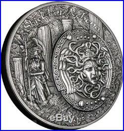 2018 2 Oz Silver $10 SHIELD OF ATHENA Antique Finish PCGS MS70 FDOI Coin