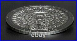 2018 3 Oz Silver Cook Island $20 AZTEC CALENDAR STONE Antique Finish Coin