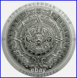 2018 3 Oz Silver Cook Island 20$ AZTEC CALENDAR STONE PCGS MS70 FDOI Coin