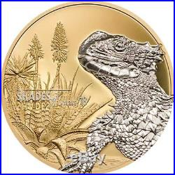 2018 Cook Islands 25 Gram Shades of Nature Sun Gazer Lizard Silver Proof Coin