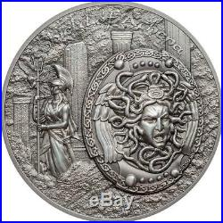 2018 Cook Islands 2 Ounce Shield of Athena Aegis High Relief Silver Coin