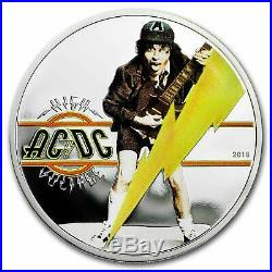 2018 Cook Islands ACDC High Voltage 1/2 oz Silver Proof Coin COA Angus Young