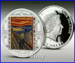 2018 Cook Islands Masterpieces of Art SCREAM Edvard Munch 3oz Proof Silver Coin