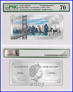 2018 Famous Skylines San Francisco Foil Note Silver Coin PMG Gem Unc 70 SKU53812