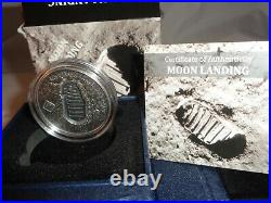 2019 $1 Cook Islands MOON LANDING 1 Oz. 999 Silver Coin with METEORITE & Box COA
