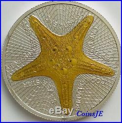2019 1 oz. 999 Silver Cook Islands $1 Starfish Silverstar Gold Gilded Coin