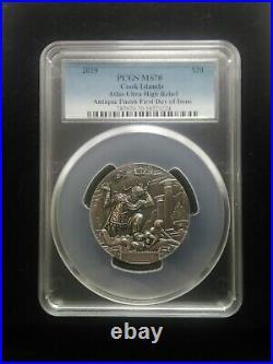 2019 $20 Cook Islands Atlas 3oz Antiqued Silver Coin PCGS MS70 FDI