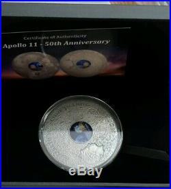 2019 3 Oz Silver $20 Cook Island APOLLO 11 50TH ANNIVERSARY Antiqued Finish Coin