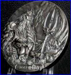 2019 3 Oz Silver Cook Island POSEIDON Sea Gods Of The World High Relief Coin