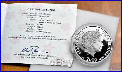 2019 Cook Islands $25 Mother of Pearl, YEAR OF THE PIG 5 oz. 999 silver coin