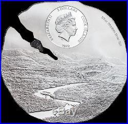 2019 Cook Islands $2 ESTACADO METEORITE ½oz Titanium Silver Silk Finish Coin