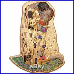2019 Cook Islands 2 Ounce Klimt The Kiss 3D Minted Gold Gilded Silver Coin