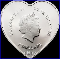 2019 Cook Islands $5 VALENTINE'S DAY Swarovski Element 20g Silver Proof Coin