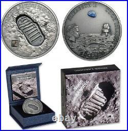 2019 MOON LANDING, cook islands, Meteorite. 1 oz Silver Coin