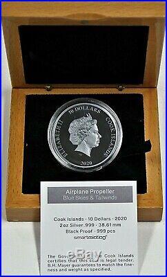 2020 $10 Cook Islands 2 oz. 999 Silver Black Proof Airplane Propeller OGP & COA