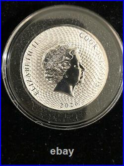 2020 2 oz Cook Islands Silver Bounty Coin IN A CAPSULE