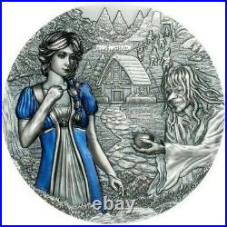 2020 3 Oz Silver $20 Cook Island SNOW WHITE Fairy Tales Fables Antique Coin