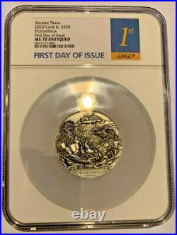 2020 COOK ISLANDS 3oz SILVER ANTIQUE TITANS, MS70 PROMETHEUS, FIRST DAY OF ISSUE